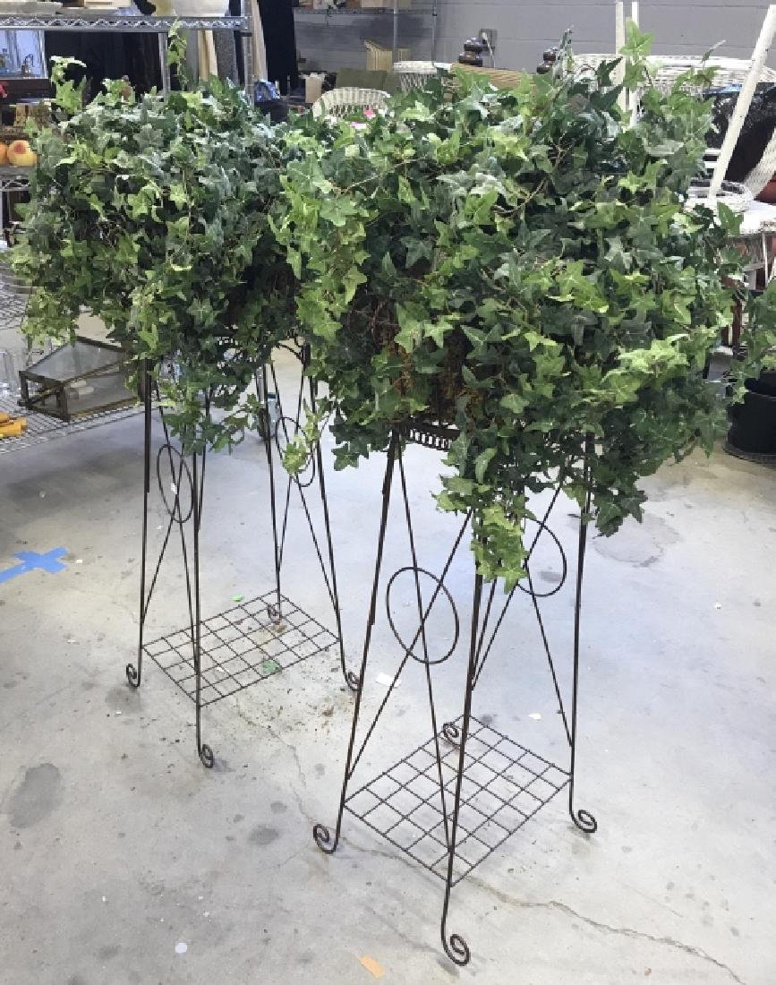 Pair Antique Metal Wire Plant Stands - 2