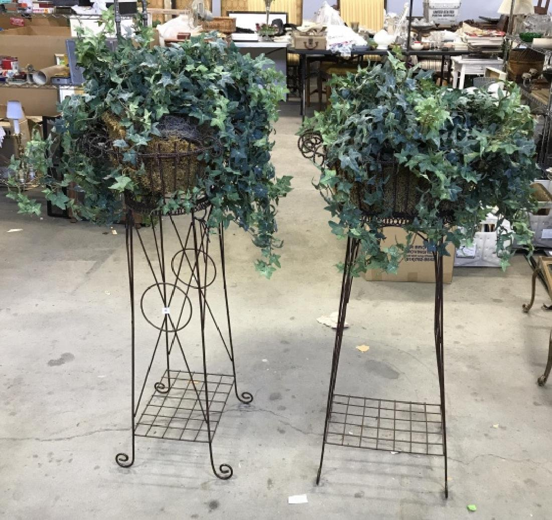 Pair Antique Metal Wire Plant Stands - 3