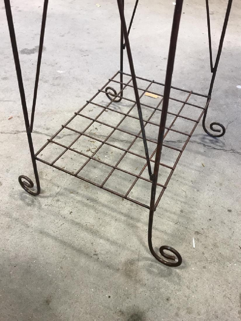 Pair Antique Metal Wire Plant Stands - 5