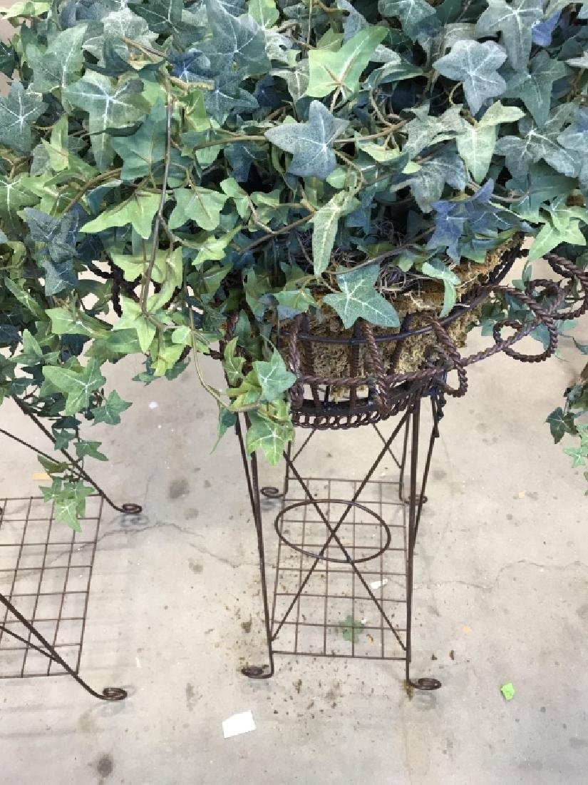 Pair Antique Metal Wire Plant Stands - 8
