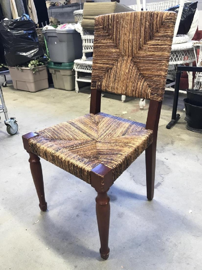 Wooden Chair W Rushed Seat And Back