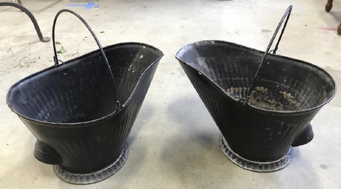 Pair Vintage Metal Scuttle Coal Buckets