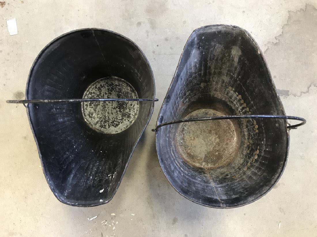 Pair Vintage Metal Scuttle Coal Buckets - 3