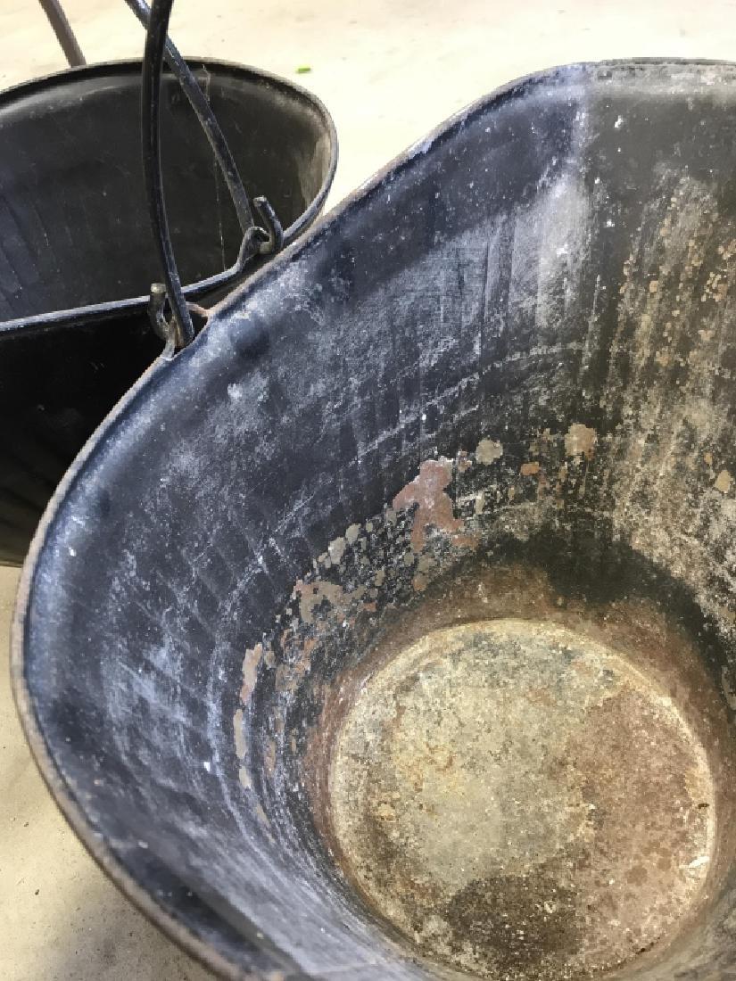 Pair Vintage Metal Scuttle Coal Buckets - 4