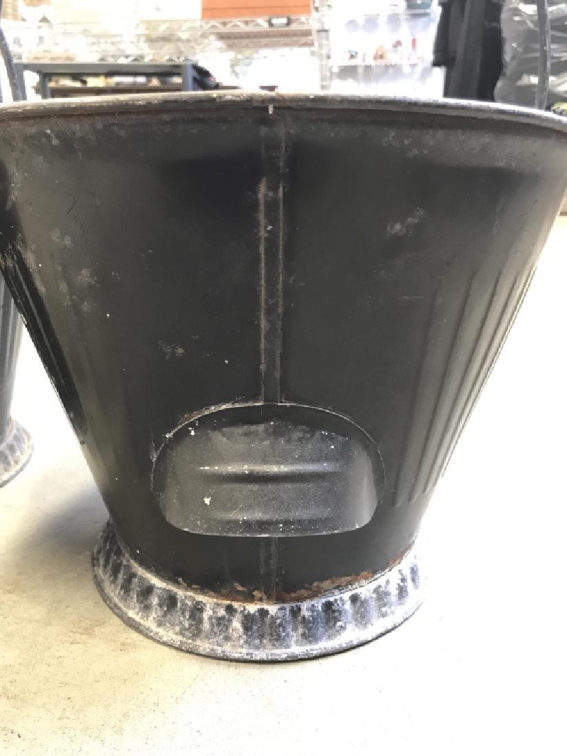 Pair Vintage Metal Scuttle Coal Buckets - 5
