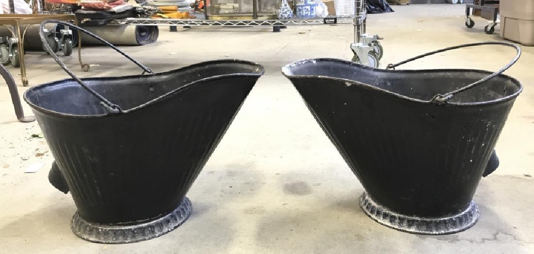 Pair Vintage Metal Scuttle Coal Buckets - 8