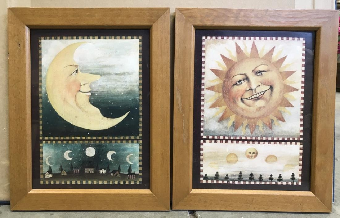 Pair Of Framed Sun And Moon Prints