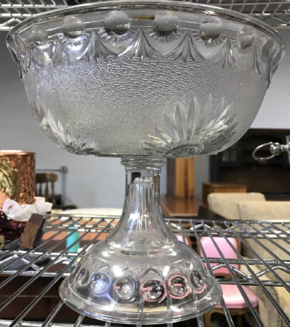 Vintage Pedestal Sandwich Glass Bowl - 2