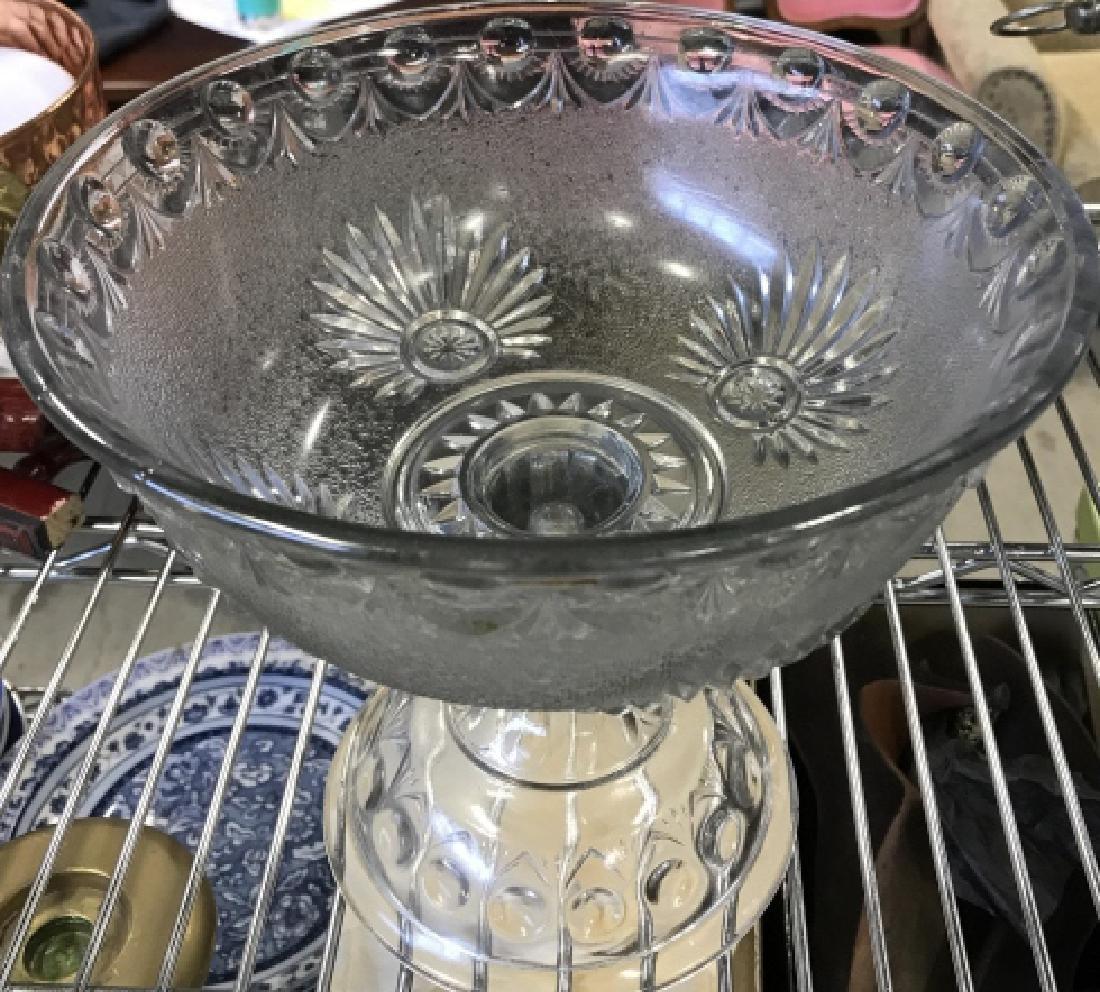 Vintage Pedestal Sandwich Glass Bowl - 3