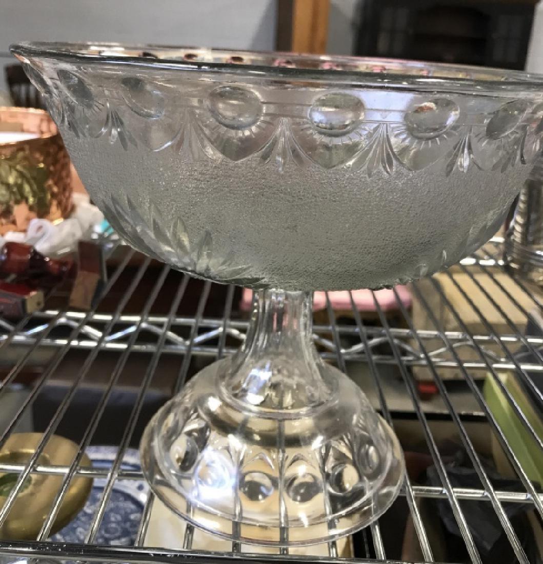 Vintage Pedestal Sandwich Glass Bowl - 6
