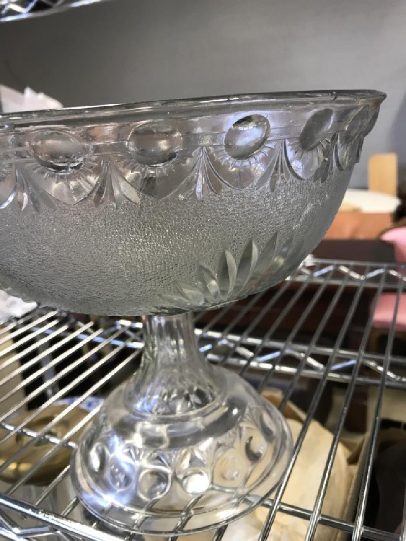 Vintage Pedestal Sandwich Glass Bowl - 7