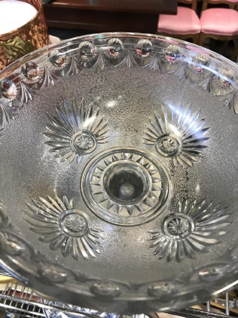 Vintage Pedestal Sandwich Glass Bowl - 8