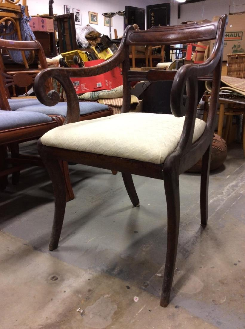 Vintage Wooden Cushioned End Chair - 2