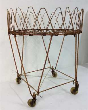 Antique Metal Plant Stand On Wheels