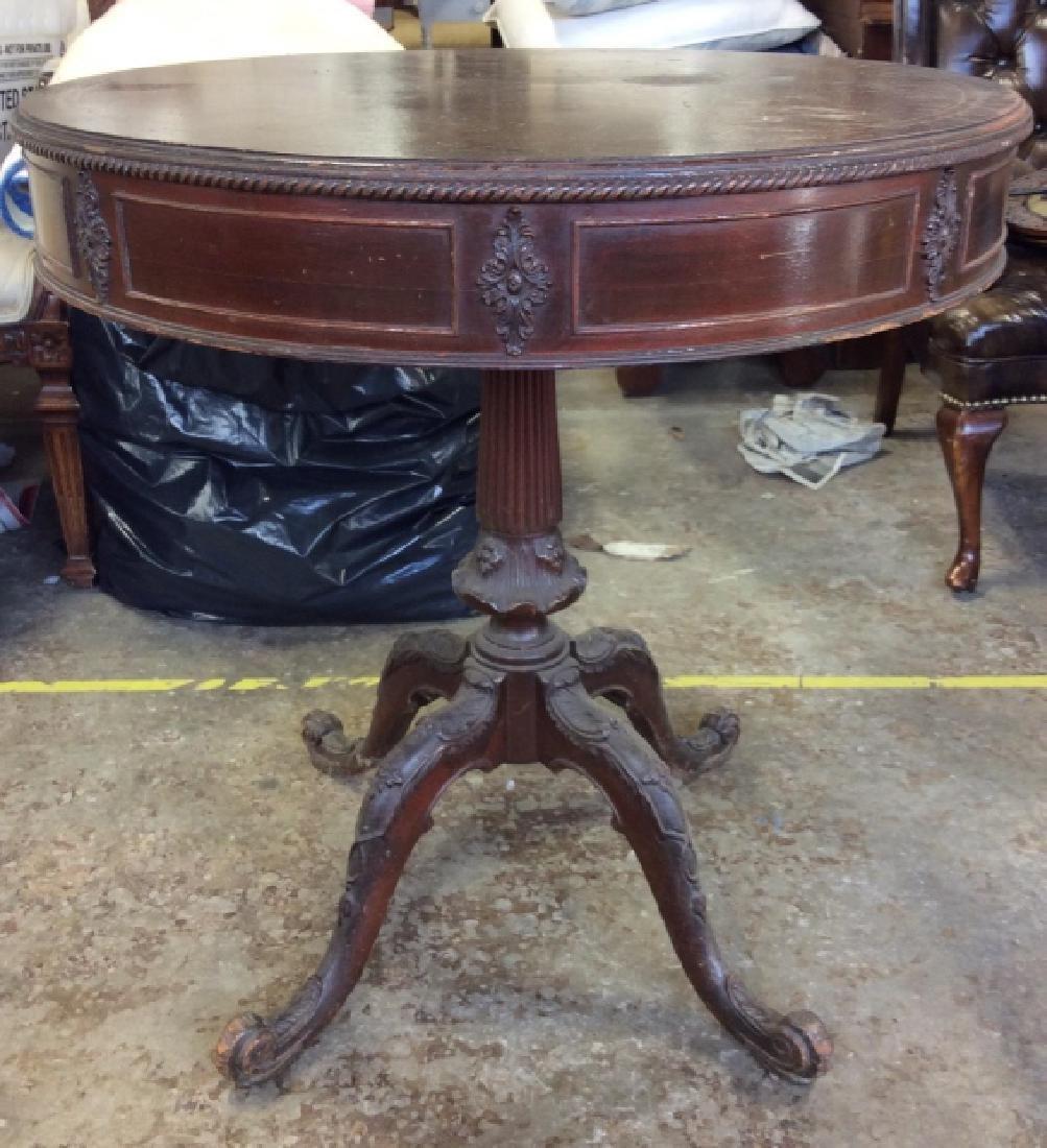Vintage Carved Wooden Pedestal Table - 2