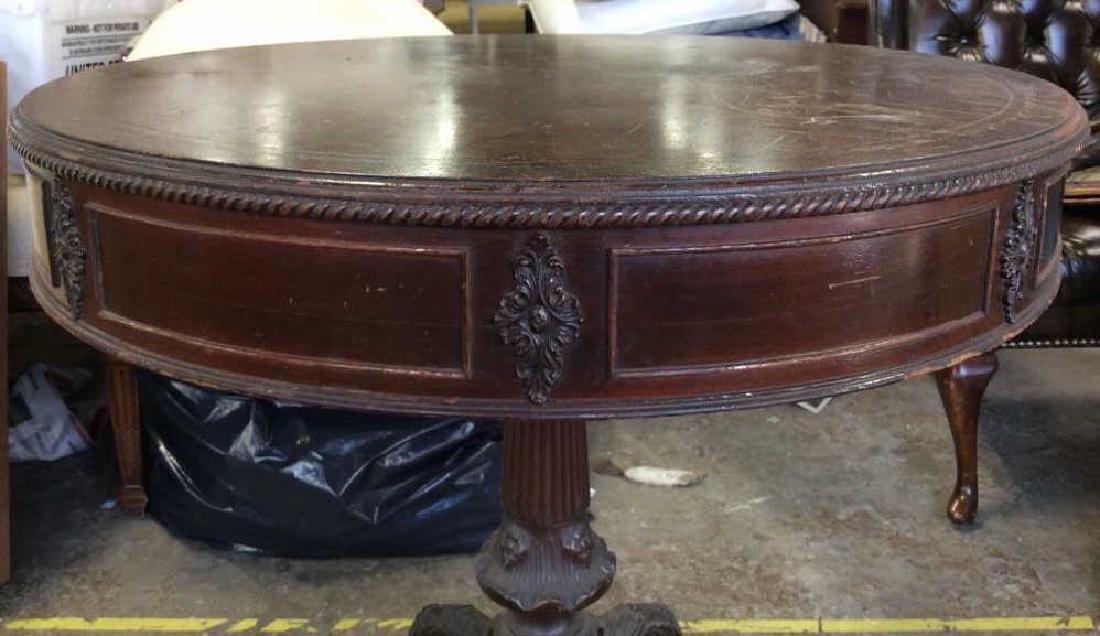 Vintage Carved Wooden Pedestal Table - 4