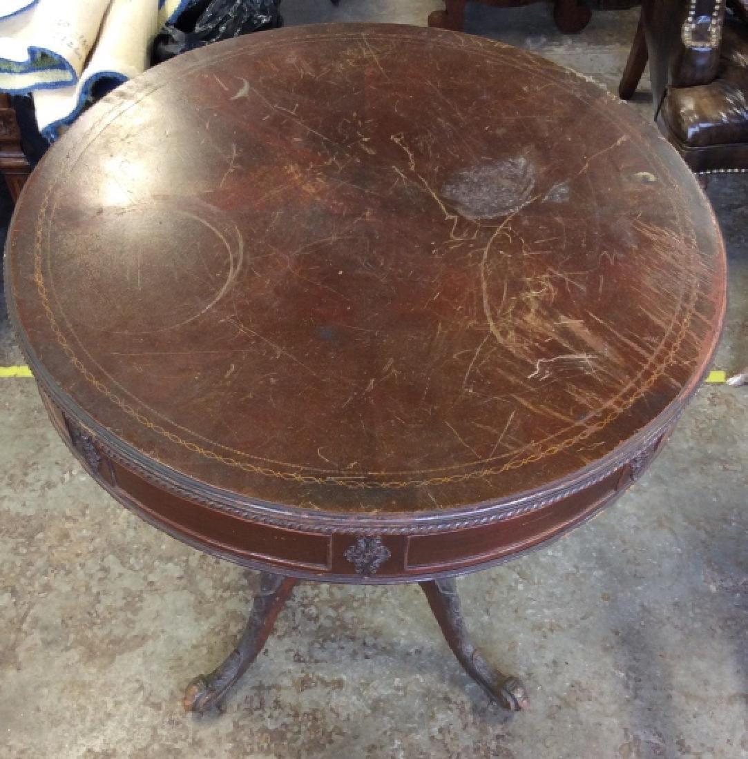 Vintage Carved Wooden Pedestal Table - 5