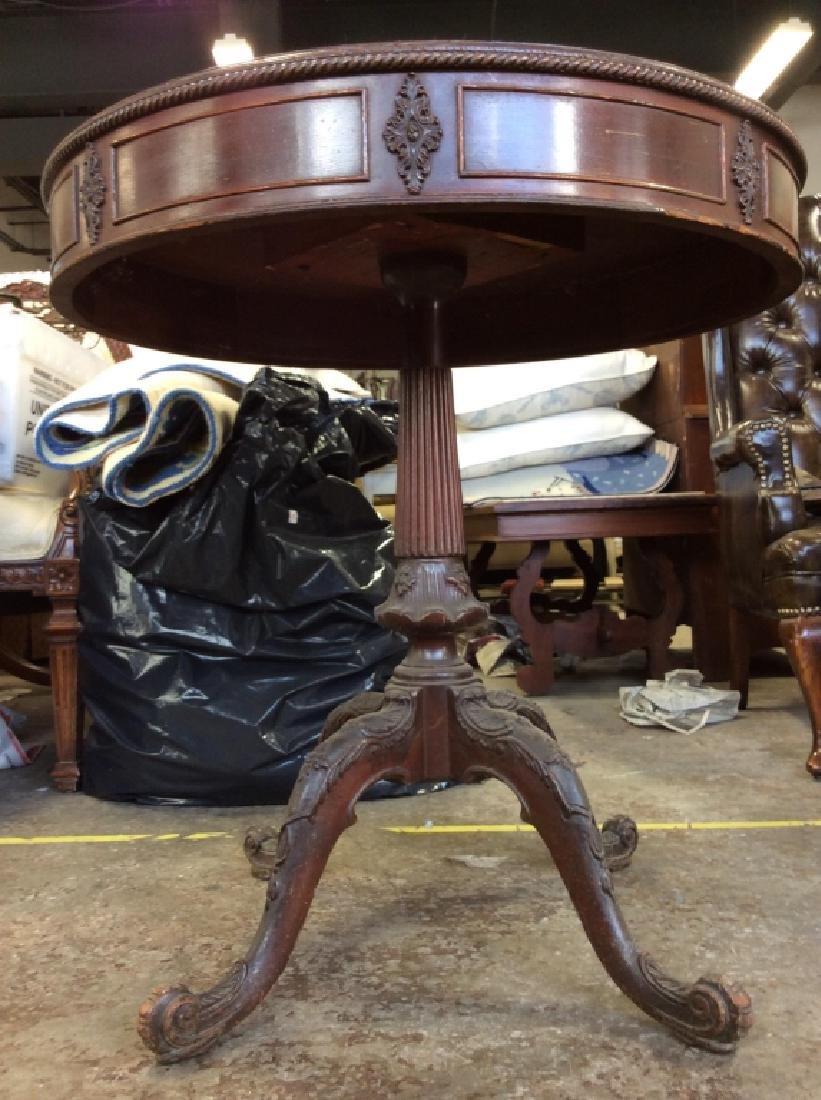 Vintage Carved Wooden Pedestal Table - 6