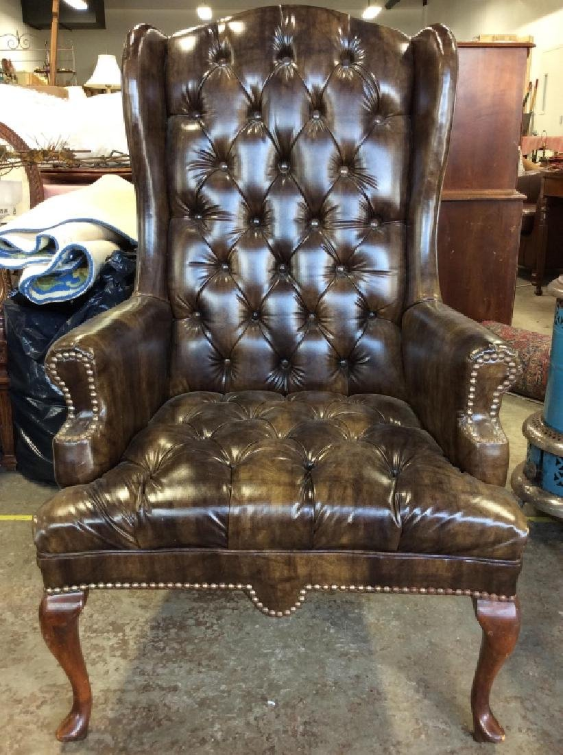 Brown Toned Poss Leather Tufted Wing Chair