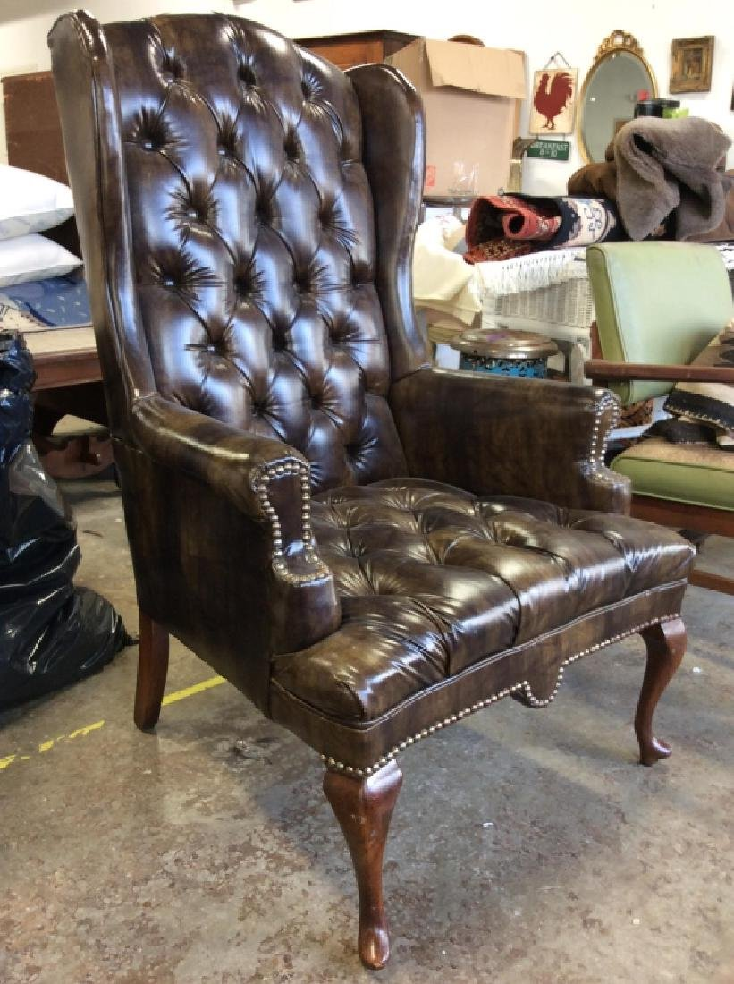 Brown Toned Poss Leather Tufted Wing Chair - 2