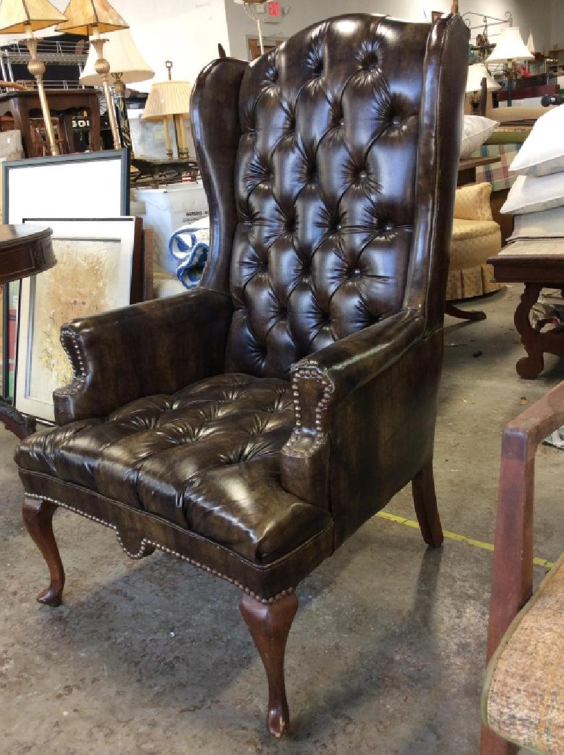 Brown Toned Poss Leather Tufted Wing Chair - 3