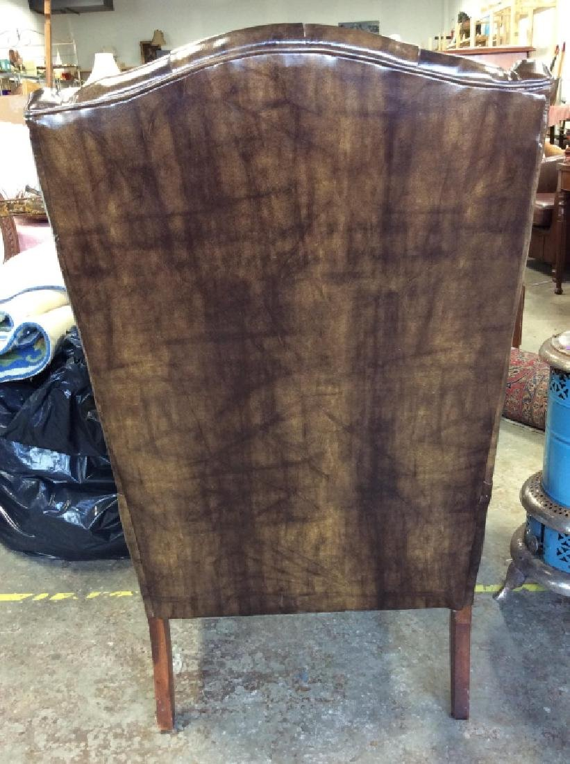 Brown Toned Poss Leather Tufted Wing Chair - 5