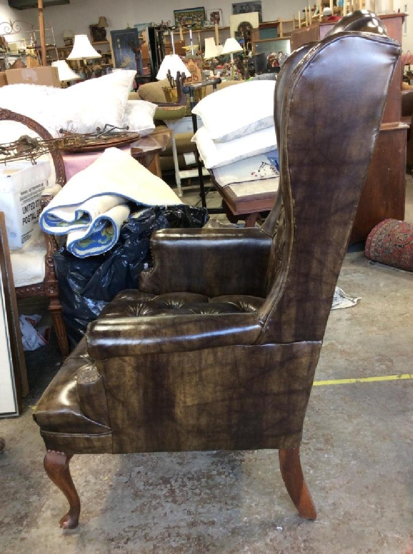 Brown Toned Poss Leather Tufted Wing Chair - 6