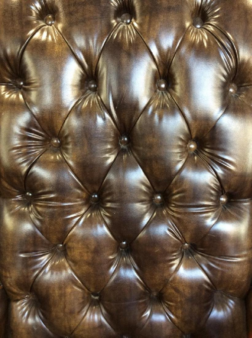 Brown Toned Poss Leather Tufted Wing Chair - 7