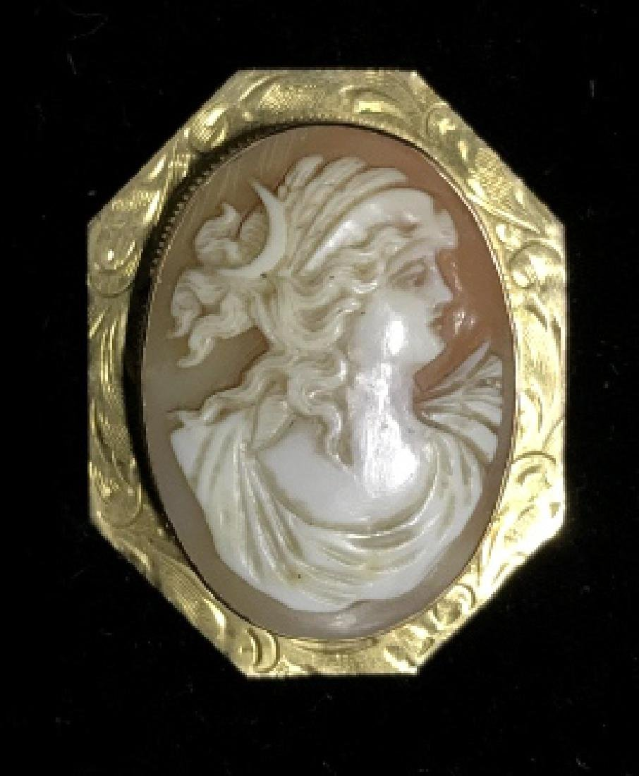 Vintage Cameo And 10k Gold Brooch - 2