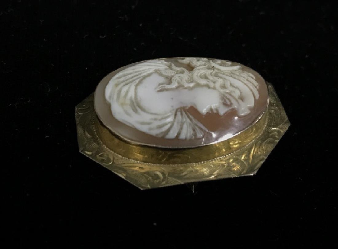 Vintage Cameo And 10k Gold Brooch - 5