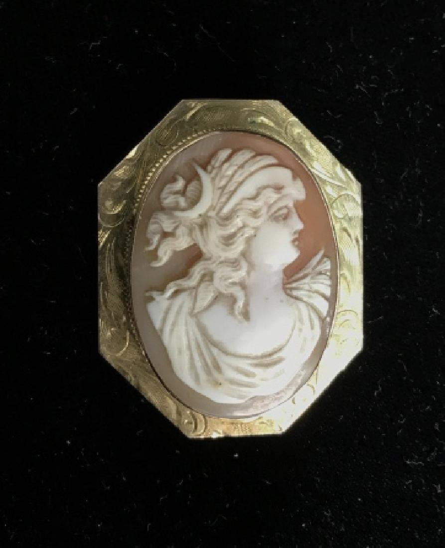 Vintage Cameo And 10k Gold Brooch - 6