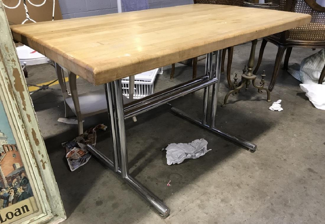 Chrome Base Wooden Table - 3