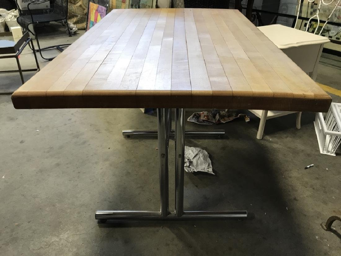 Chrome Base Wooden Table - 4