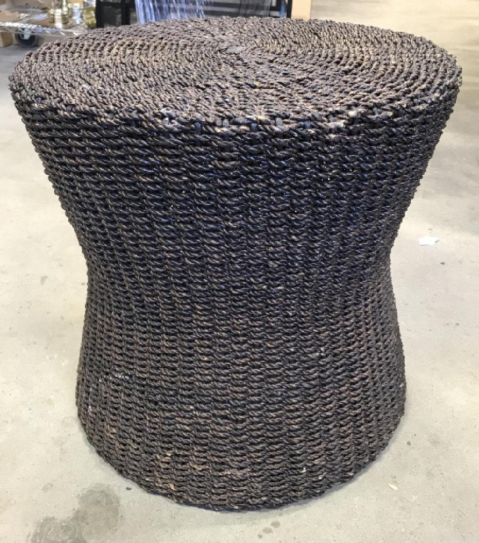 Crate & Barrel Hourglass Basket Side Table
