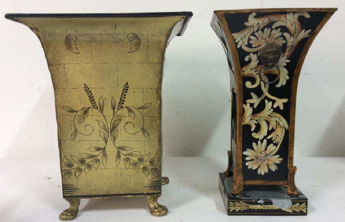 Pair of Metallic Planters W Floral Embellishments