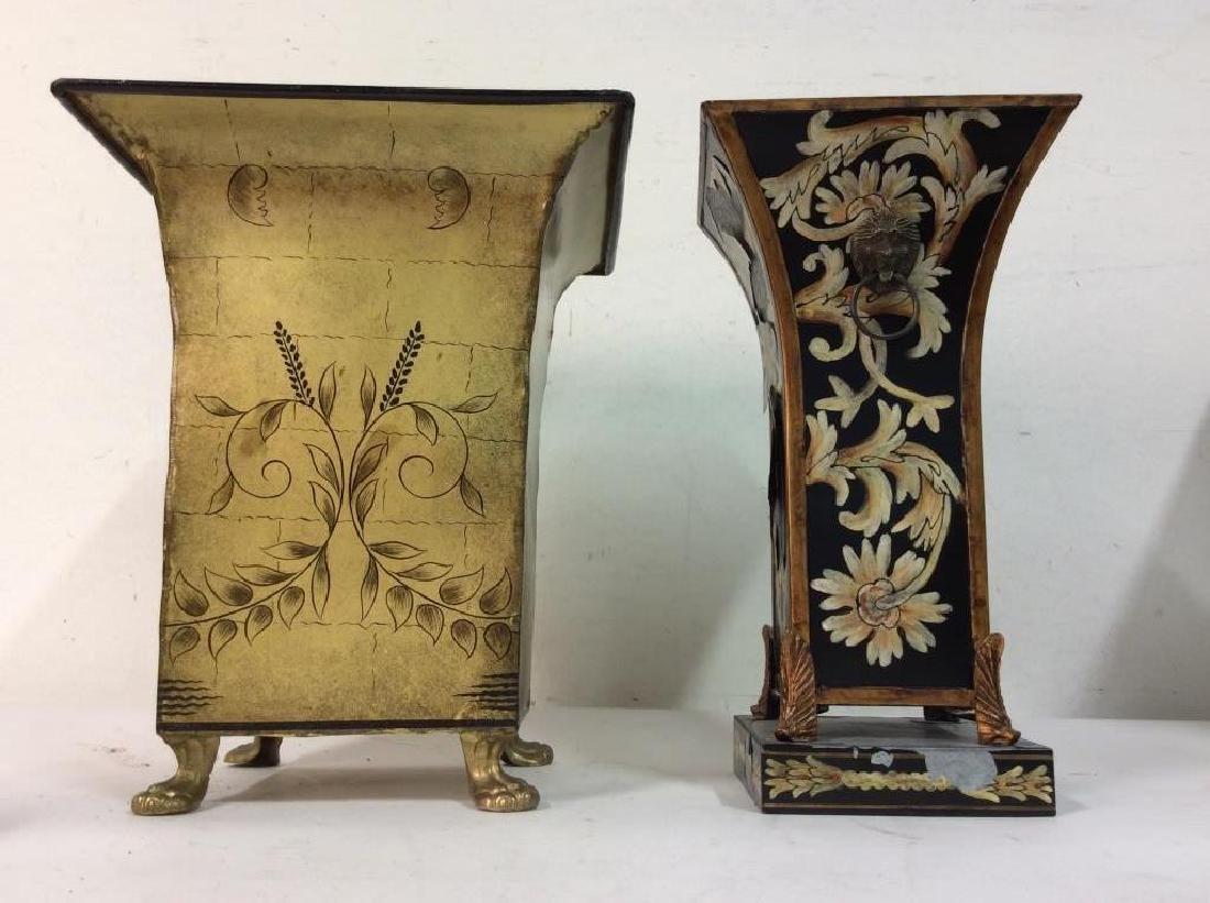 Pair of Metallic Planters W Floral Embellishments - 2