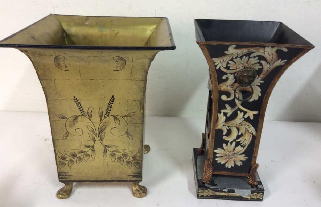 Pair of Metallic Planters W Floral Embellishments - 3