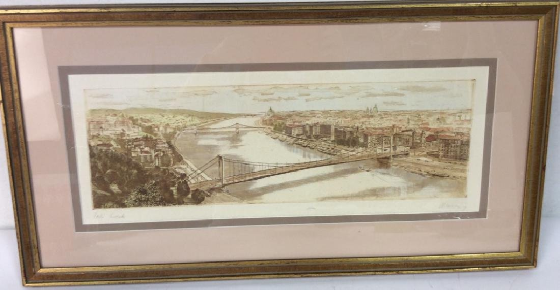 Framed and Signed Print Etching Of Cityscape - 2