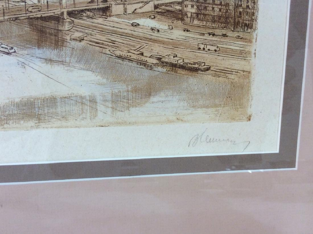 Framed and Signed Print Etching Of Cityscape - 4