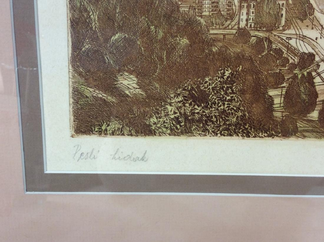 Framed and Signed Print Etching Of Cityscape - 6