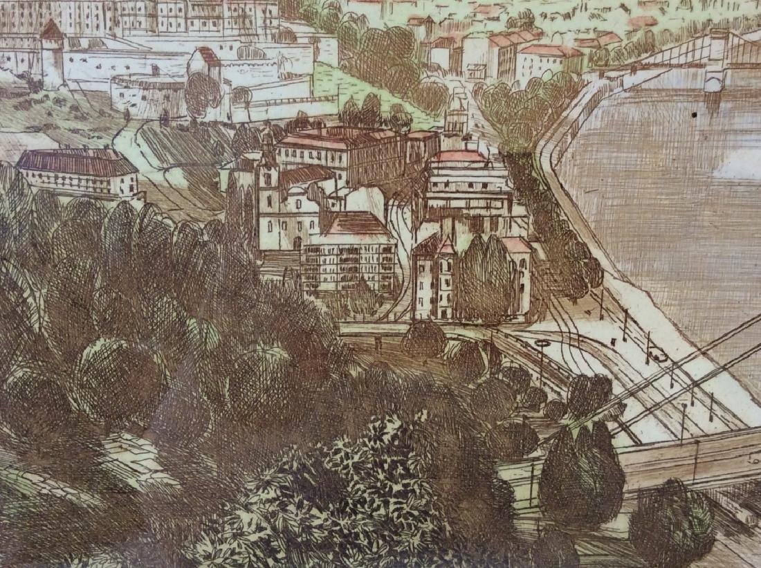 Framed and Signed Print Etching Of Cityscape - 7