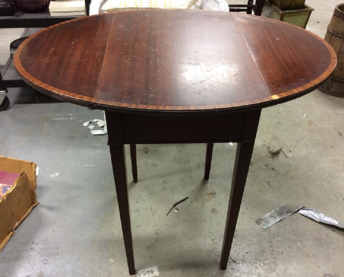 Dark Wood Drop Leaf Mahogany End Table