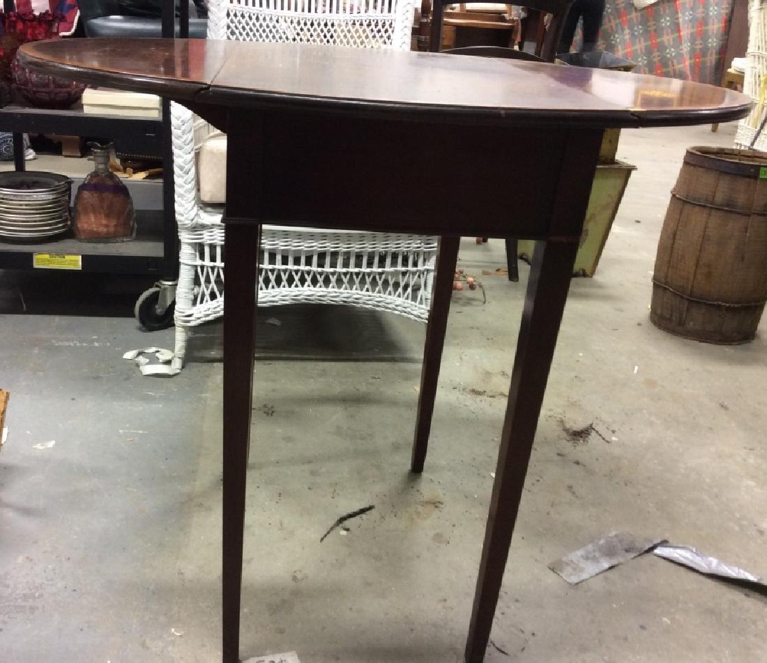 Dark Wood Drop Leaf Mahogany End Table - 2