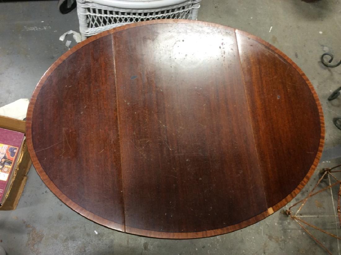 Dark Wood Drop Leaf Mahogany End Table - 3