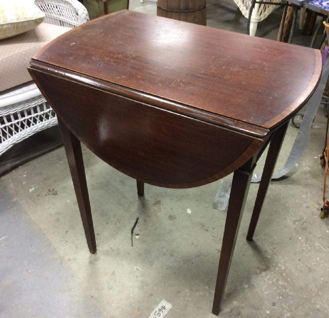 Dark Wood Drop Leaf Mahogany End Table - 5