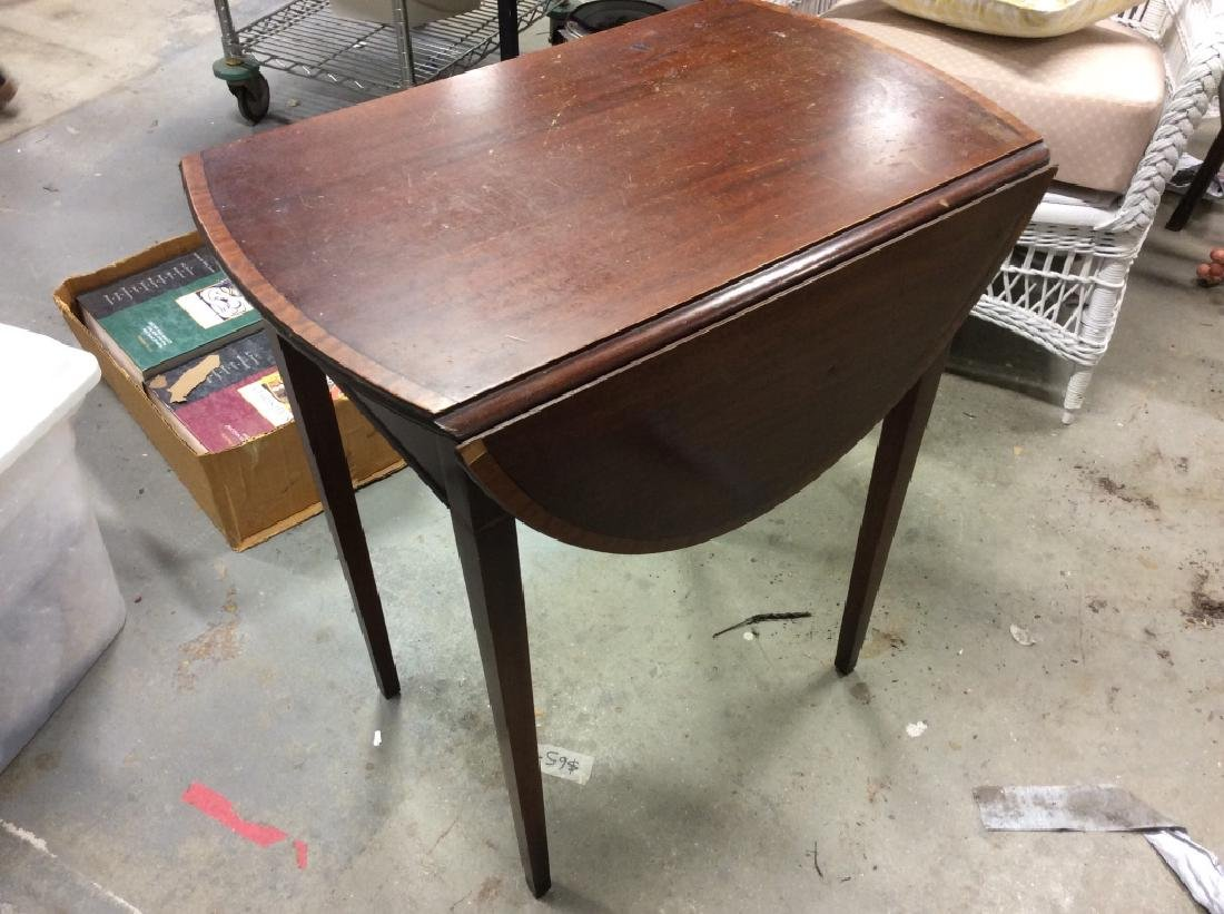 Dark Wood Drop Leaf Mahogany End Table - 6