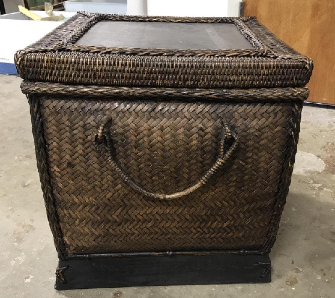 Woven Square Basket Storage Side Table