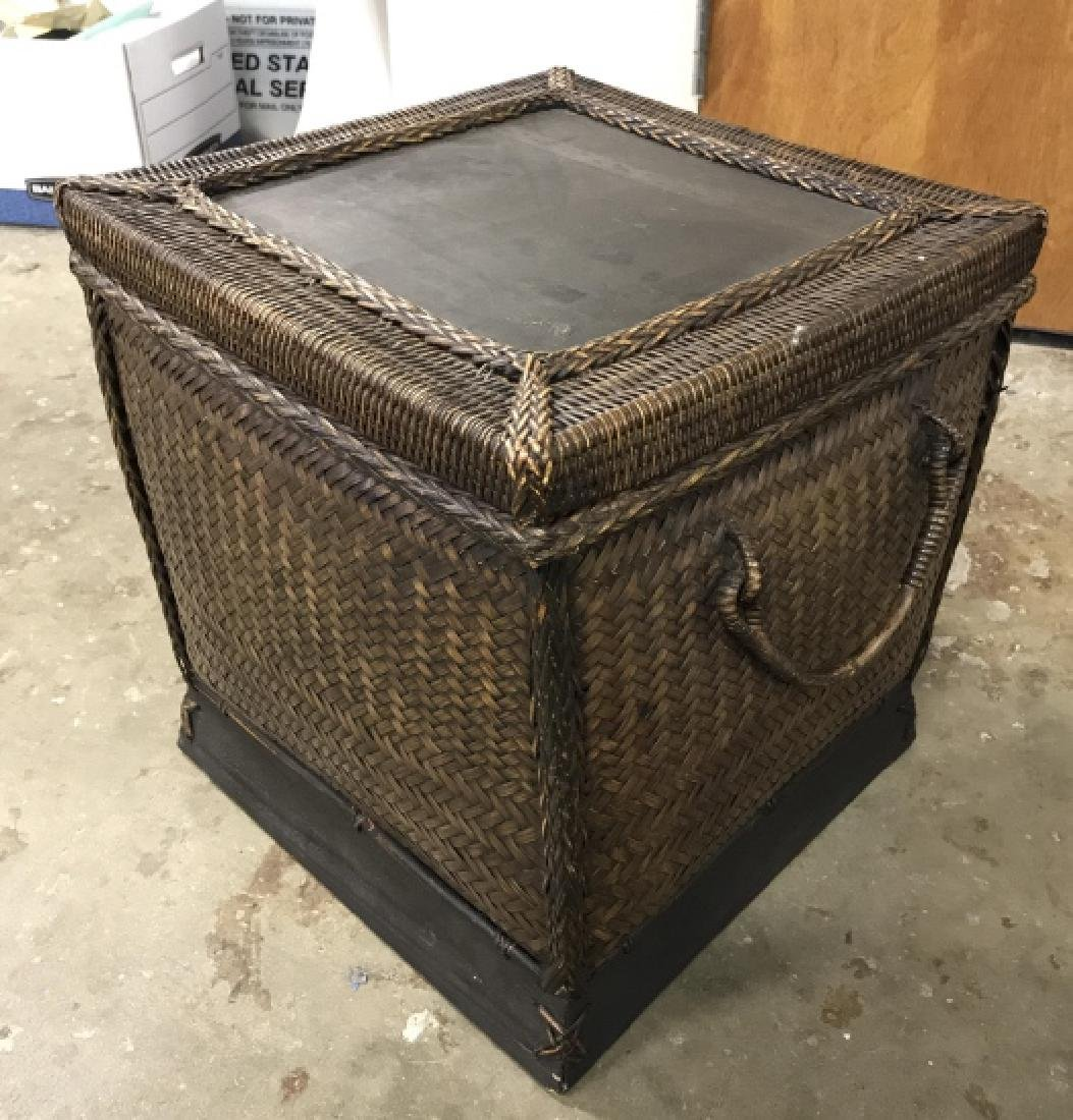 Woven Square Basket Storage Side Table - 2