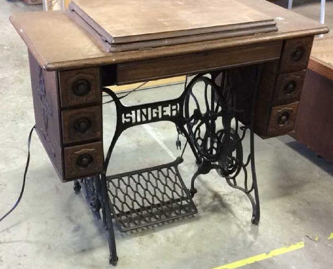 Iron and Oak Sewing Table w Machine