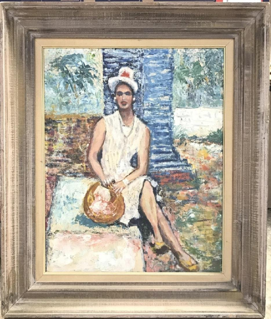 Framed Painting Sitting Woman
